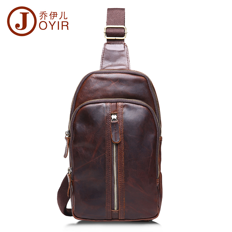ФОТО 2017 Genuine Leather cowhide chest pack Men's Crossbody chest bags Vintage Zipper small Shoulder bag for male men Belt Bag B509