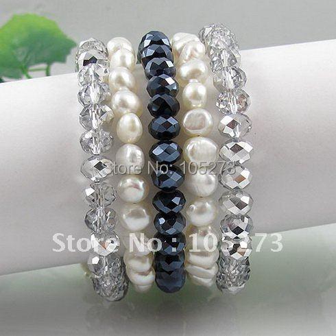 Мода жемчужный браслет AA 7-8 мм белый натуральный пресноводный жемчуг барокко формирователь и синий и серый кристалл 5 рядов A2593