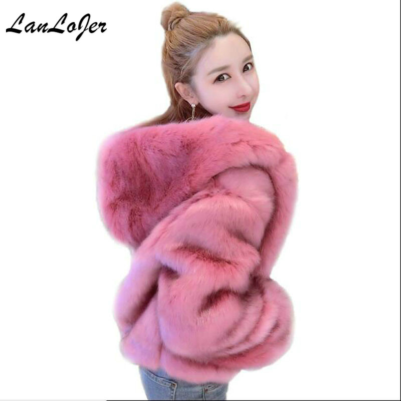 New Women Hooded Faux Fur Coat Fashion Warm Long sleeved Loose Black Coat Flocking Cotton Jacket