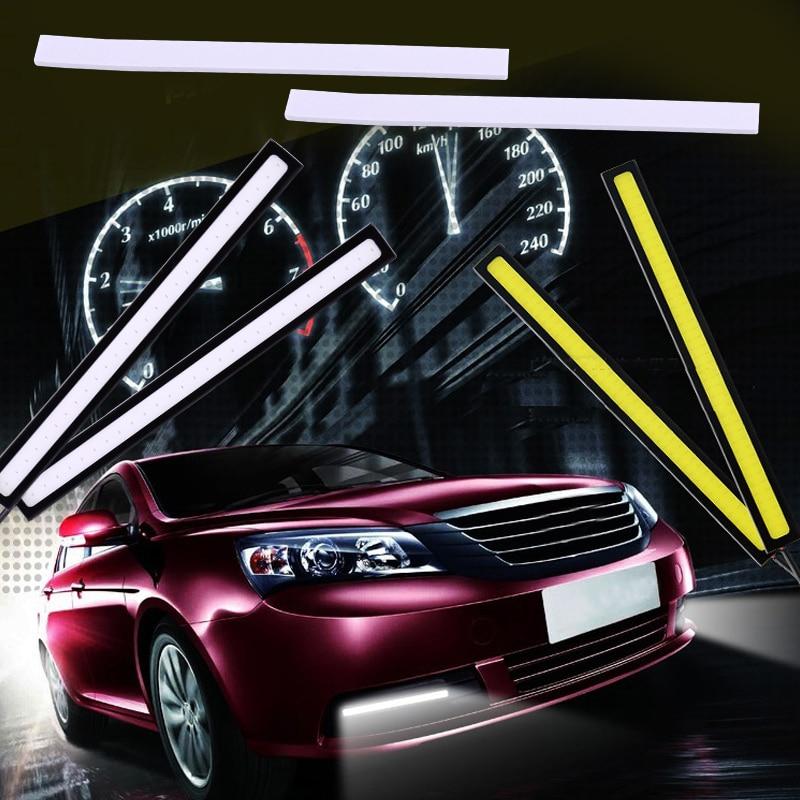 DWCX Universal 2x Car Waterproof Super Bright COB <font><b>LED</b></font> <font><b>Daytime</b></font> <font><b>Running</b></font> Light DRL Fog Driving <font><b>Lamp</b></font> For VW Golf Audi Honda Hyundai