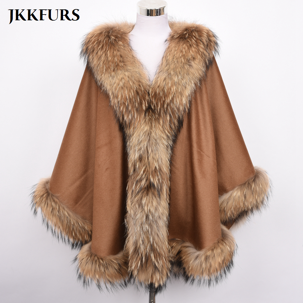 Women's Cashmere Poncho Genuine Fox Fur Collar Trim & Cape Wool Jacket Autumn Winter Warm Long Pashmina Real Fur Coat S7356B