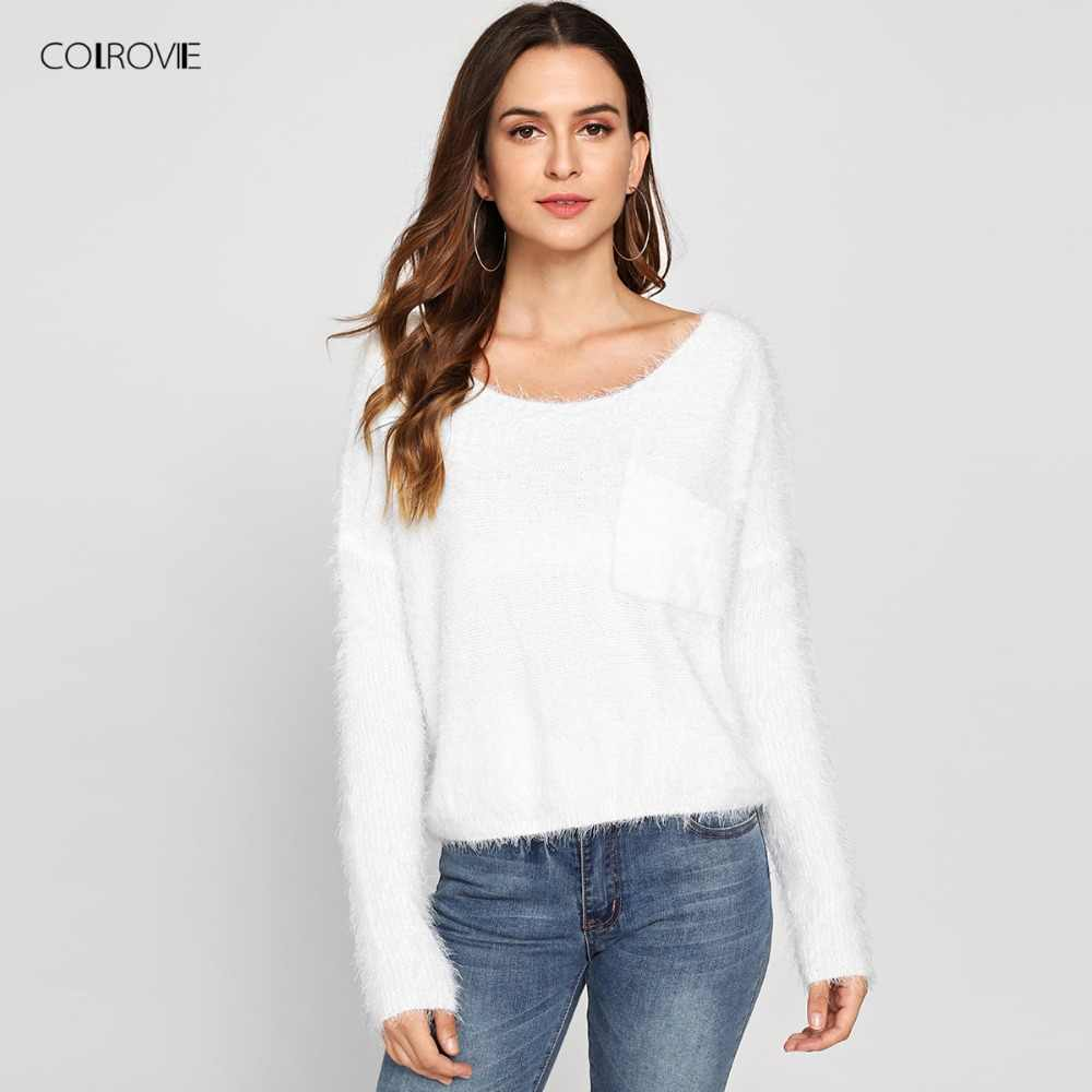 Colrovie Single Saku Depan Fuzzy Wanita Putih Crop Sweater 2018 Musim Gugur Kasual Solid Longgar Sweater Kebesaran Pullover Jumper