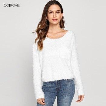 COLROVIE с одним карманом спереди пушистый женский белый укороченный свитер 2018 осень однотонный Повседневный свободный Свитер оверсайз пулове...