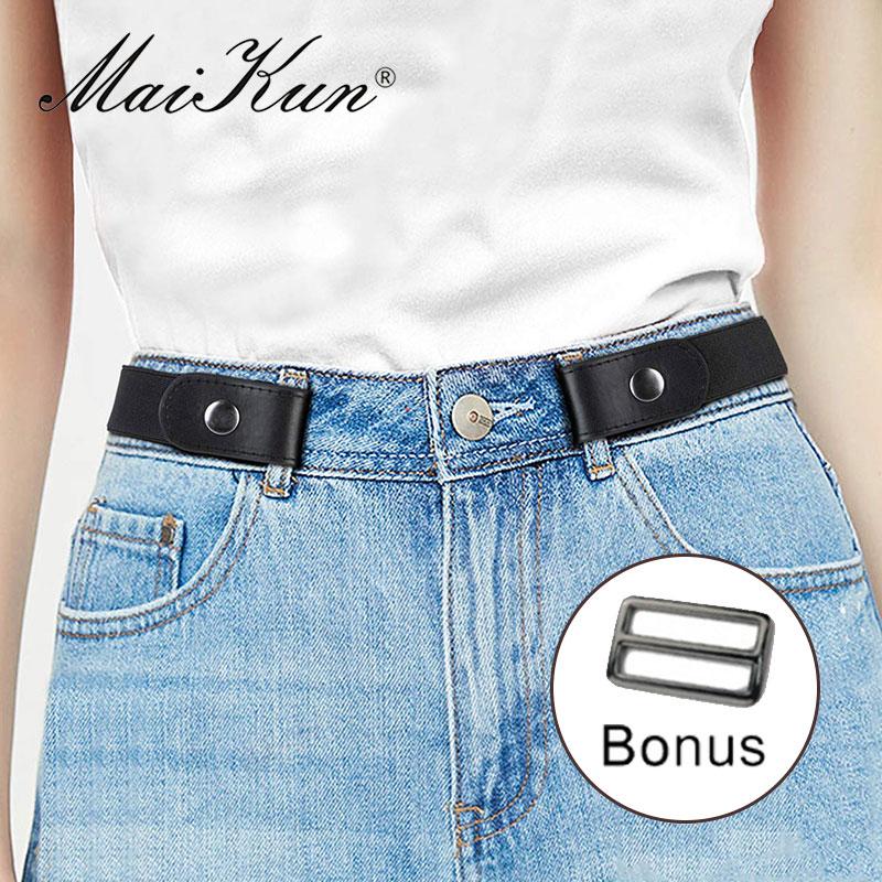Maikun Belts For Women Buckle Free Unisex Canvas Belt For Dresses Jeans Pants No Buckle Stretch Elastic Waist Belt For Women