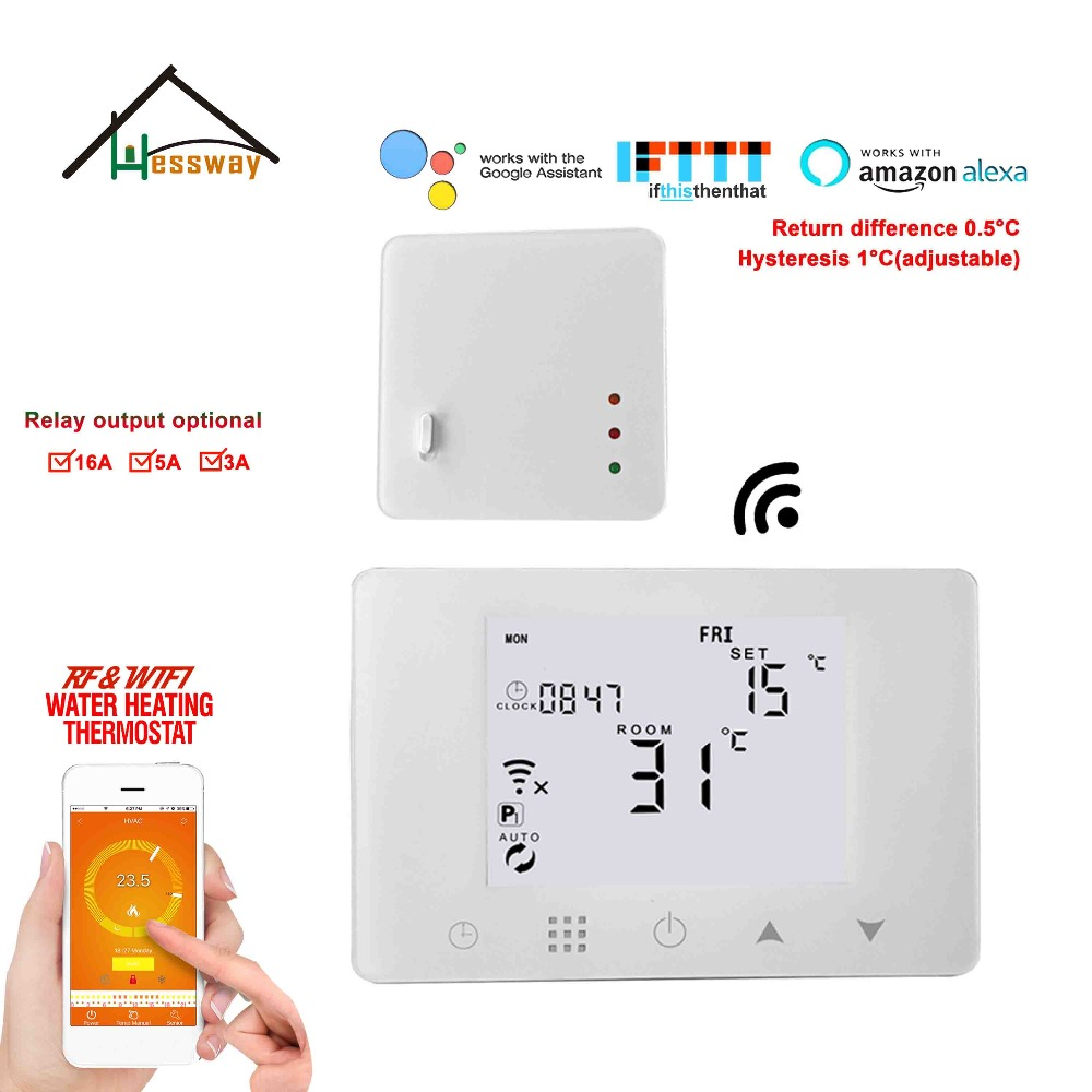 Return Difference 0.5degree Rf Wireless Room Thermostat WIFI Temperature Control For Floor Heating System 3A/5A/16A Optional