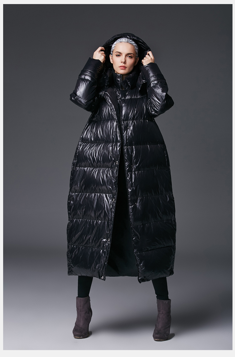 Eva freedom High Quality Winter Women Plus Size   Down     Coat   Thick Snow Outwear Female Hooded Cocoon Long White Duck   Down   Jacket
