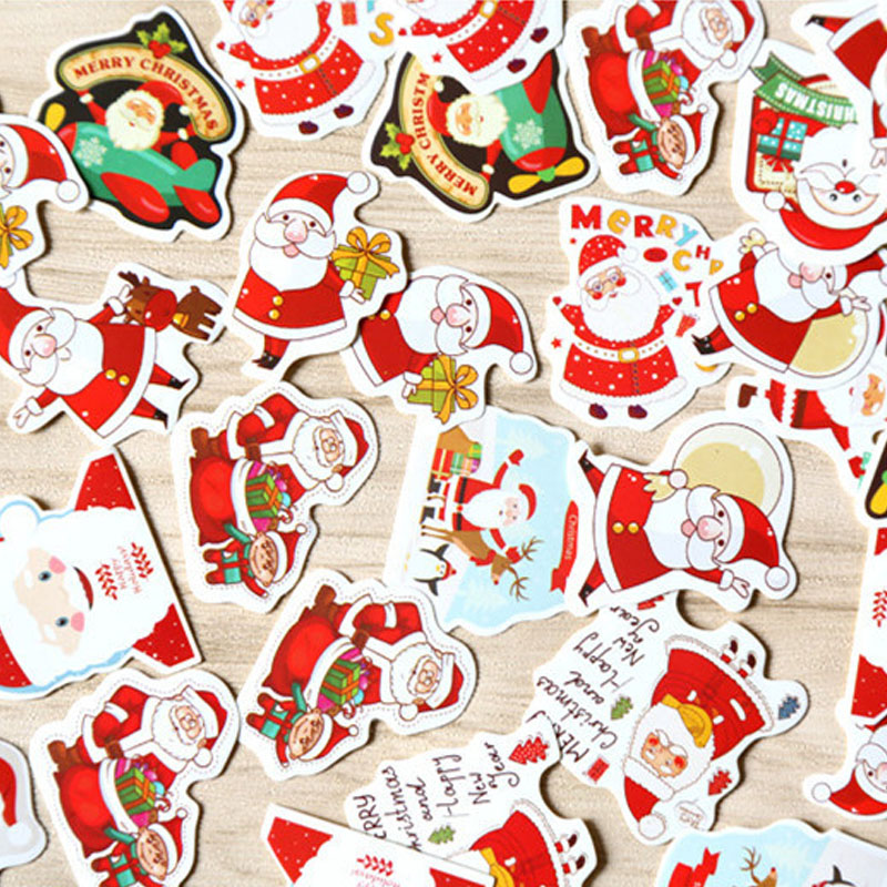 48Pcs/Pack Merry Christmas Decorative Sticker Santa Claus Shaped Envelope Seal Stickers For Scrapbook Diy Diary Album Decoration