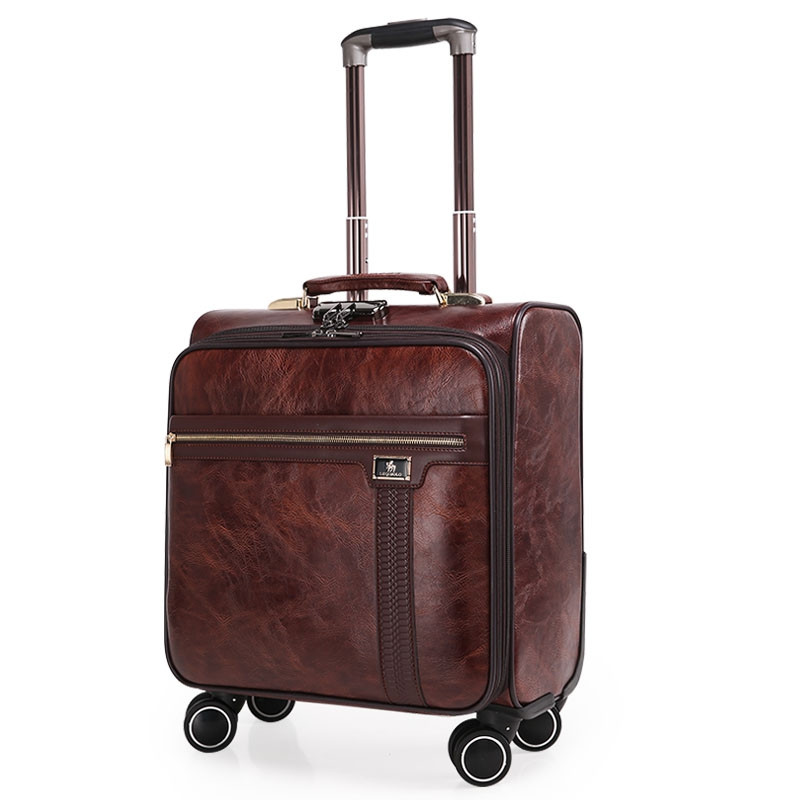 16 INCH Coffee Leather Trolley Luggage Case Men's Business Suitcase with wheels Travel Bag mala de viagem valiz