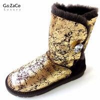 G & Zaco Lui De Luxe Femmes Naturel en peau de Mouton Bottes de Neige Femelle Réel Moutons De Fourrure Cristal Bouton Mi-mollet Bottes Chaud Appartements laine Chaussures
