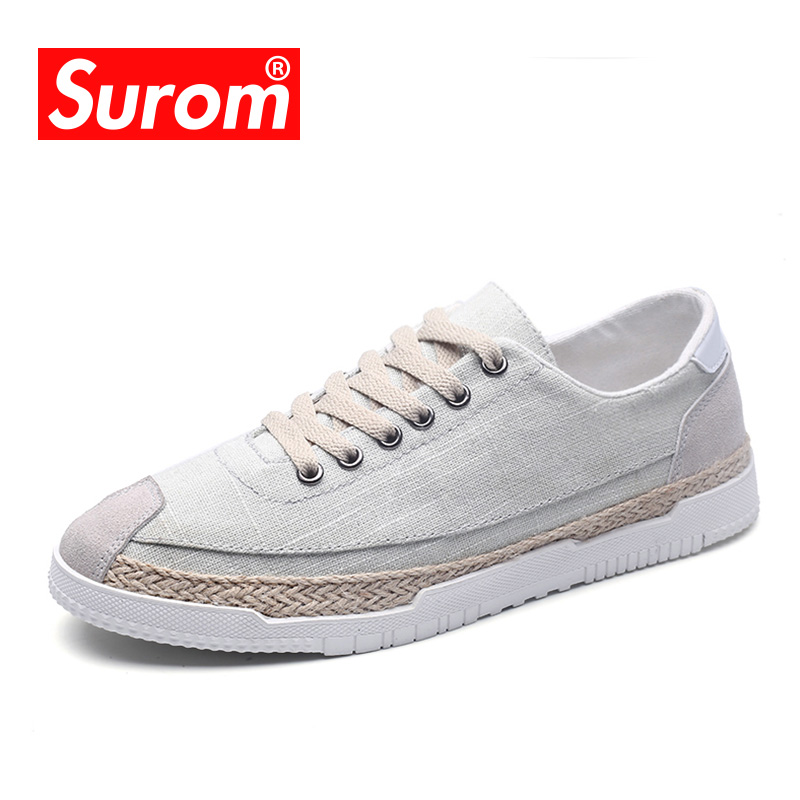 SUROM Summer Breathable Footwear Men's Flats Canvas Shoes Hemp Sole Casual Shoes Male Lace up Soft Shoes Plus Big size 39-45 2017 patchwork lace up rubber sole canvas shoes breathable super leisure women casual shoes with flats student shoes rm 05