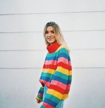 rainbow sweater girls knit sweaters women plus size pullovers full casual striped turtleneck pink harajuku fashion