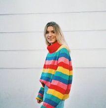 rainbow sweater girls knit sweaters women plus size pullovers full casual striped turtleneck pink harajuku fashion