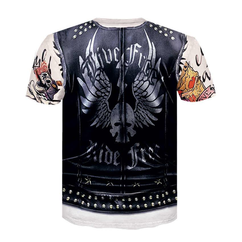 3D Áo Hipster Áo Thun Tay Ngắn In Chui Áo Sơ Mi Homme ngọn Đá Vintage Hip Hop Mùa Hè TEE Gothic áo sơ mi thương hiệu Áo Thun