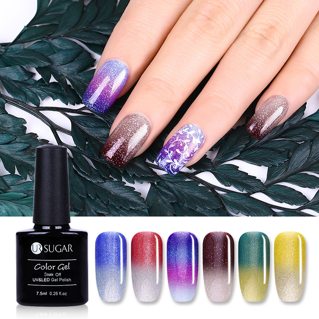 UR SUGAR 6 Pcs/set UV Thermal Color change Gel Polish Ultra thin ...