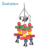 Colorful Pet Bird Chewing Toys Parrot Macaw Cage Wooden Blocks Swing Playing Scratcher Climbing Toy For