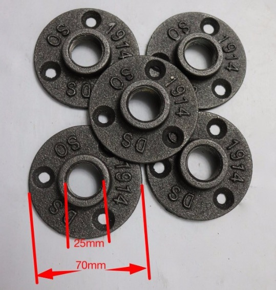 30Pieces/Lot Cast Iron Industrial Pipes Flange Wall Base Pipe Support Base (-DN20-3/4''Pipe  Hole ID:25MM )