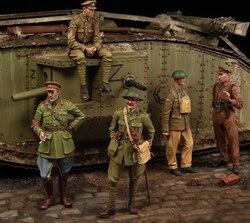 [Tuskmodel] 1 35 escala resina modelo figuras kit ww1 tanque britânico crewman grande conjunto 5 figrues t1100