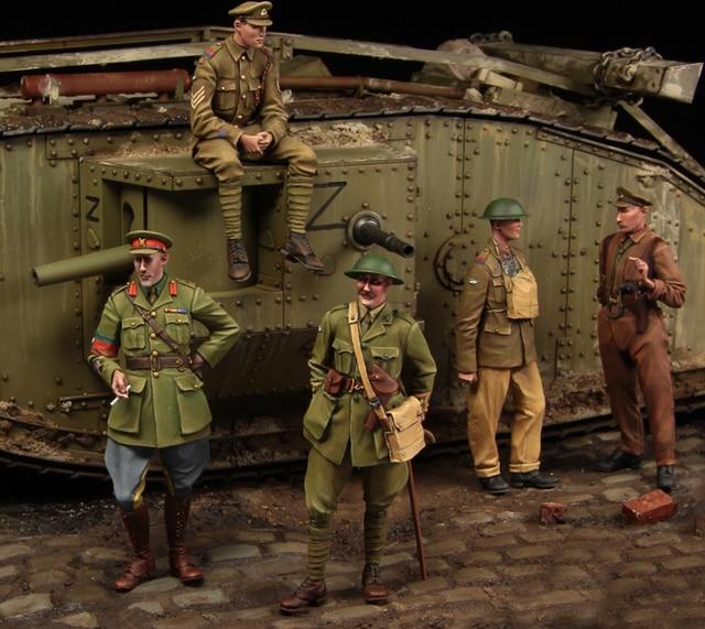 [tuskmodel] 1 35 scale resin model figures kit  WW1 British Tank crewman Big set 5 figrues t1100