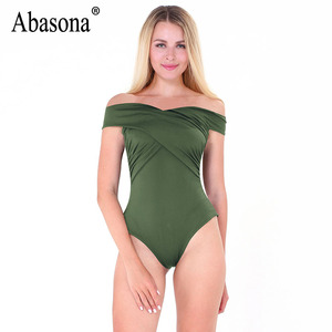 Abasona Bodysuit Women Body Suits For Women Sexy Romper Body Top Womens Sexy Off Shoulder Bodysuits Casual Beach Wear Playsuits