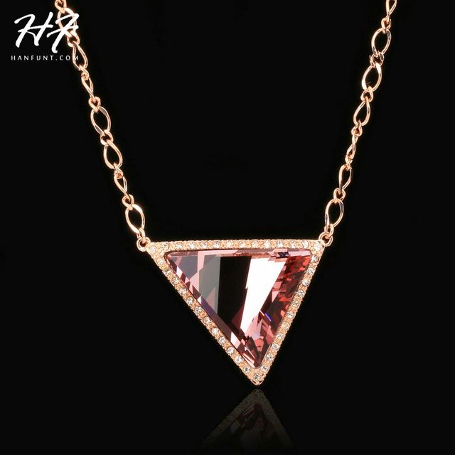 Triángulo de Cristal de Calidad superior de Lujo Blanco/Rose Plateó el Collar Pendiente Cristalino Austríaco Al Por Mayor N504 N505 N506