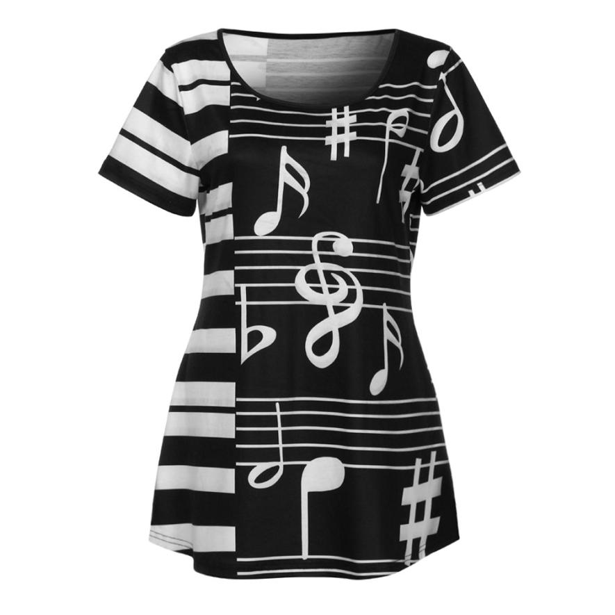 feitong 2018 New Spring Summer Women Fashion Sexy Ladies Musical Note Printing T-Shirt Short Sleeve Casual Tops Clothes