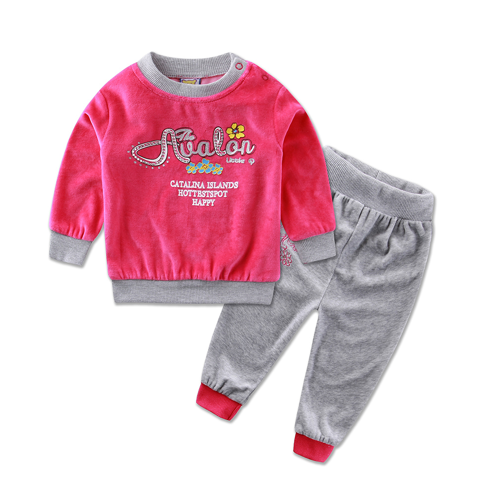 2018 Little Q Spring Long Sleeve Embroidery Velour Pullover Blouse Pants Clothing Set fashion girls font