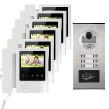 Apartment Doorbell intercom 4.3″ Video Door Phone RFID Intercom System HD Door Camera IR Infrared Clear Night Vision for 6 famli