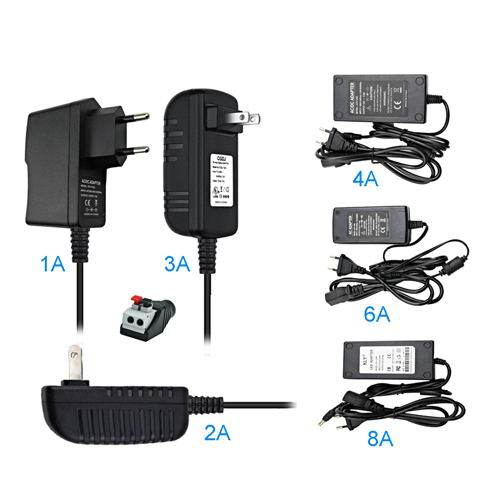 <font><b>AC</b></font> to <font><b>DC</b></font> <font><b>12V</b></font> Power Adapter Supply, LED Driver Lighting Transformers, 1A 2A <font><b>3A</b></font> 4A 6A 8A Converter Charger, For LED Strip Light IL image