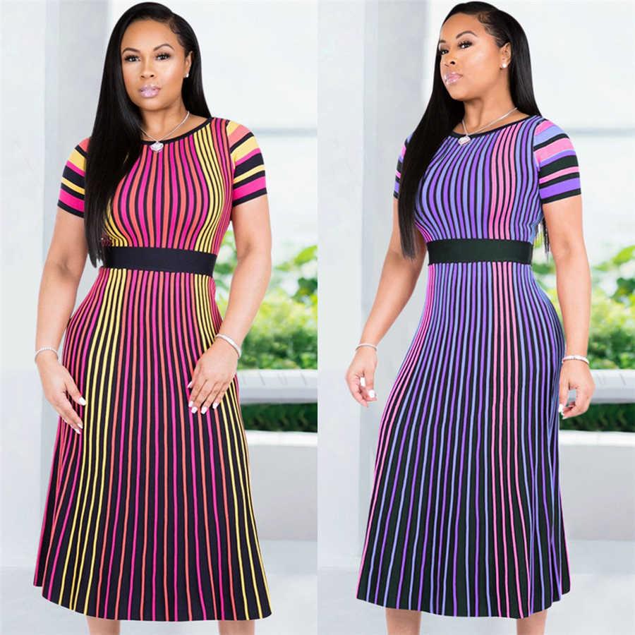 GuyuEra африканские платья для женщин сексуальный европейский и американский цвет в полоску с короткими рукавами круглый вырез для похудения длинная юбка