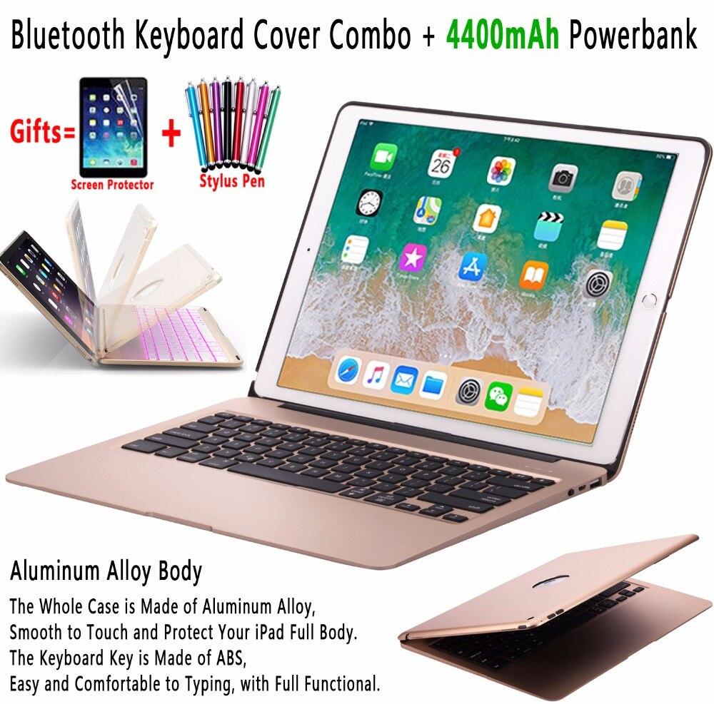 Backlit fina Liga de Alumínio Sem Fio Bluetooth Keyboard Case Capa para Apple iPad 12.9 2017 2015 Pro com 4400 mAh Powerbank
