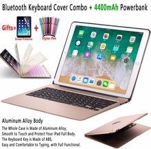 スリムバックライトアルミ合金ワイヤレスbluetoothキーボードアップルのipadとプロ 12.9 2017 2015 powerbank 4400 mah