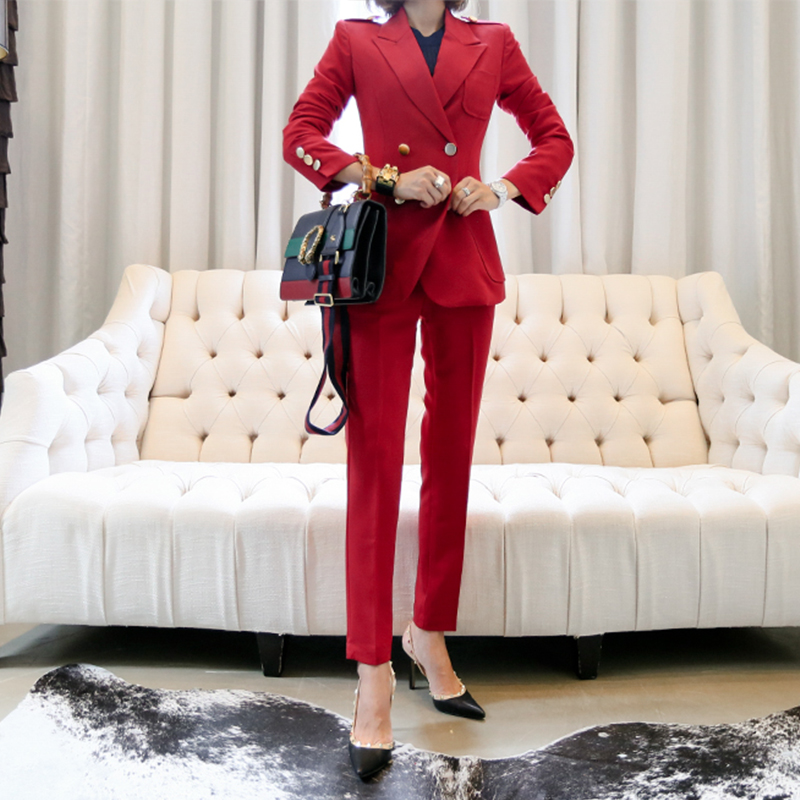 Work Fashion Pant Suits 2 Piece Set for Women Double Breasted Red Blazer Jacket & Trouser Office Lady Suit Feminino 2019 WS144