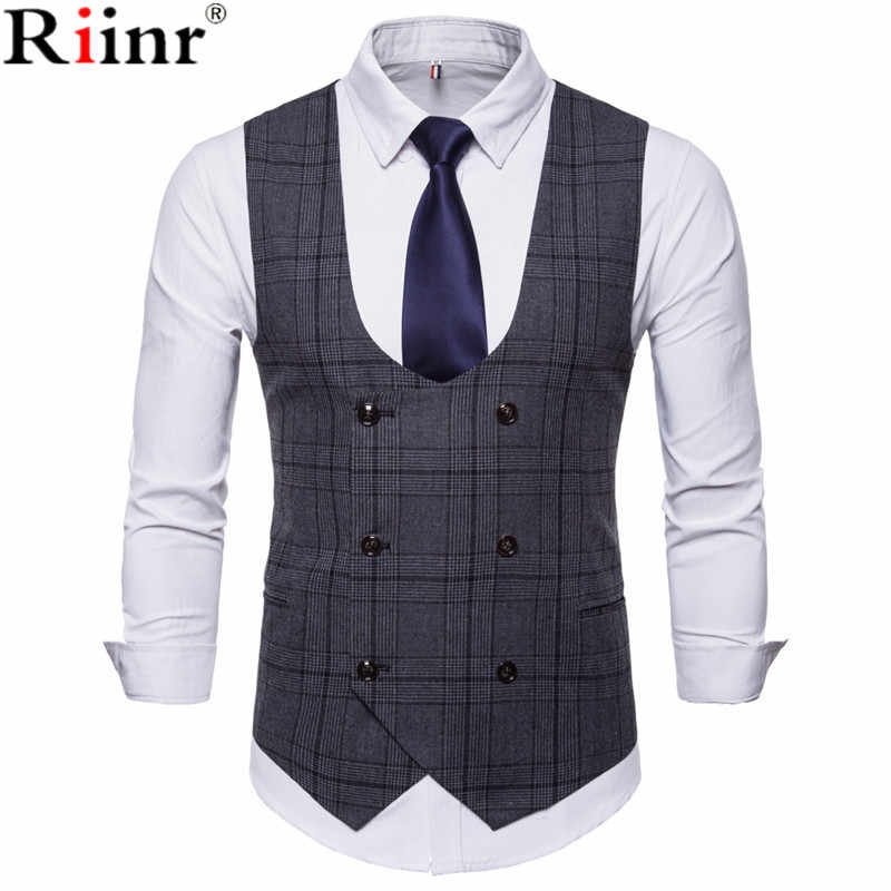 Riinr 2018 New Brand Men's Business Casual Vest High Quality Men's Clothing Men's Casual Plaid High Quality Double Breasted Vest