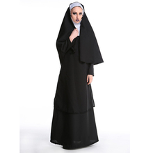 2019 Virgin Mary Nuns Costumes For Women Sexy Long Black Costume Arabic Religion Monk Ghost Uniform Halloween Cosplay XL