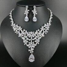 NEW FASHION Retro romantic little flower crystal zircon necklace earring wedding bride banquet party dress formal jewelry set