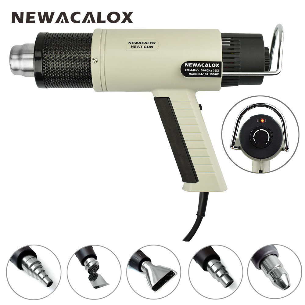 NEWACALOX EU Plug 220V 1500W Industrial Electric Hot Air Gun Temperature Adjustable Heat Gun Shrink Wrapping Thermal Heater Tool