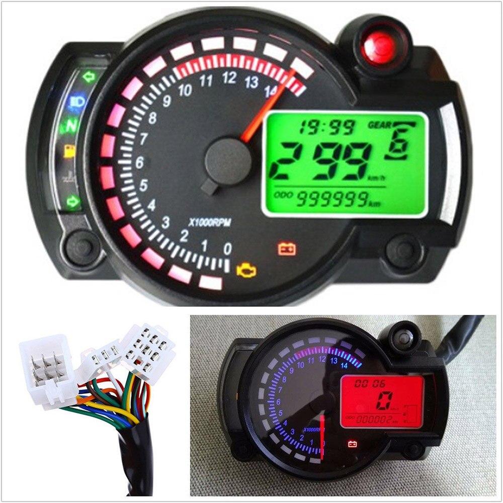 Motorcycle Odometer Speedometer Universal Speedometer Tachometer Odometer 15000rpm Similar LCD Digital Adjustable MAX 299KM H