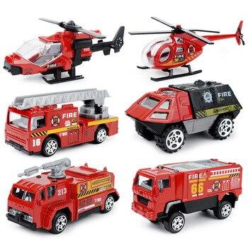 6pcs set alloy 1:87 mini fire truck pocket model children's toy car gift for boy