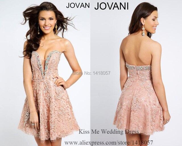 abcf28d35c 2015 moda rosa Lace Vestido de Cocktail do querido cristal Curto vestidos  de festa Vestido sociais
