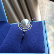 Eternal wedding Women Gift word 925 Sterling silver real Permanent natural seawater pearl ring round to gift