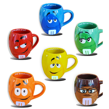 Neue ankunft Nette Cartoon MM Schokolade Bohnen Glaskeramikbecher Ausdruck Tasse Tee Kaffeetasse