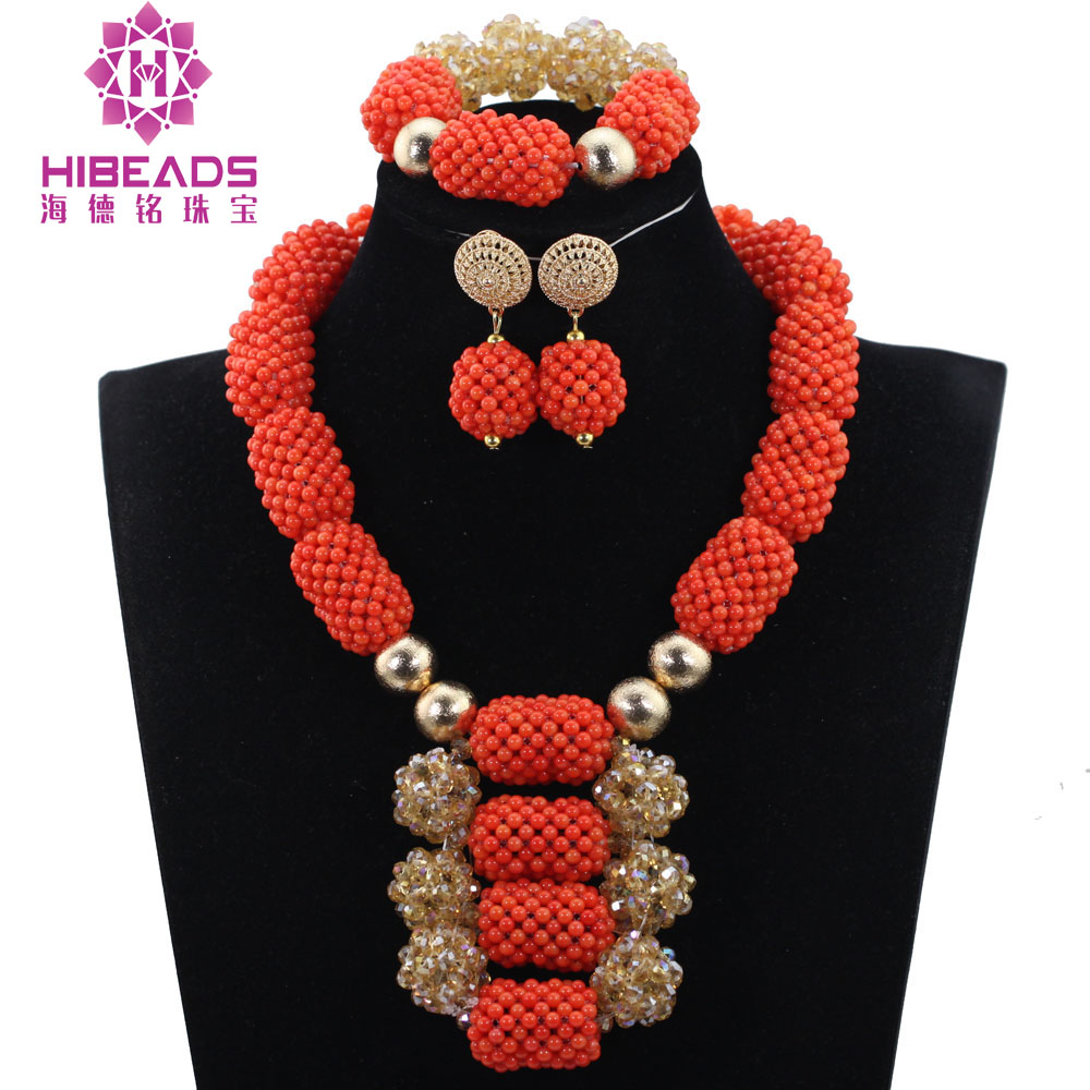 Beautiful Coral/Crystal Beads Jewelry Set Nigerian Wedding African Beads Jewelry Set Bridal Jewelry Set Free Shipping QW1132Beautiful Coral/Crystal Beads Jewelry Set Nigerian Wedding African Beads Jewelry Set Bridal Jewelry Set Free Shipping QW1132