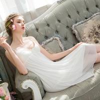 Women Summer Princess Nightgown Spaghetti Strap Sleepwear Ladies Vintage White Nightdress Royal Womens Sleepwear