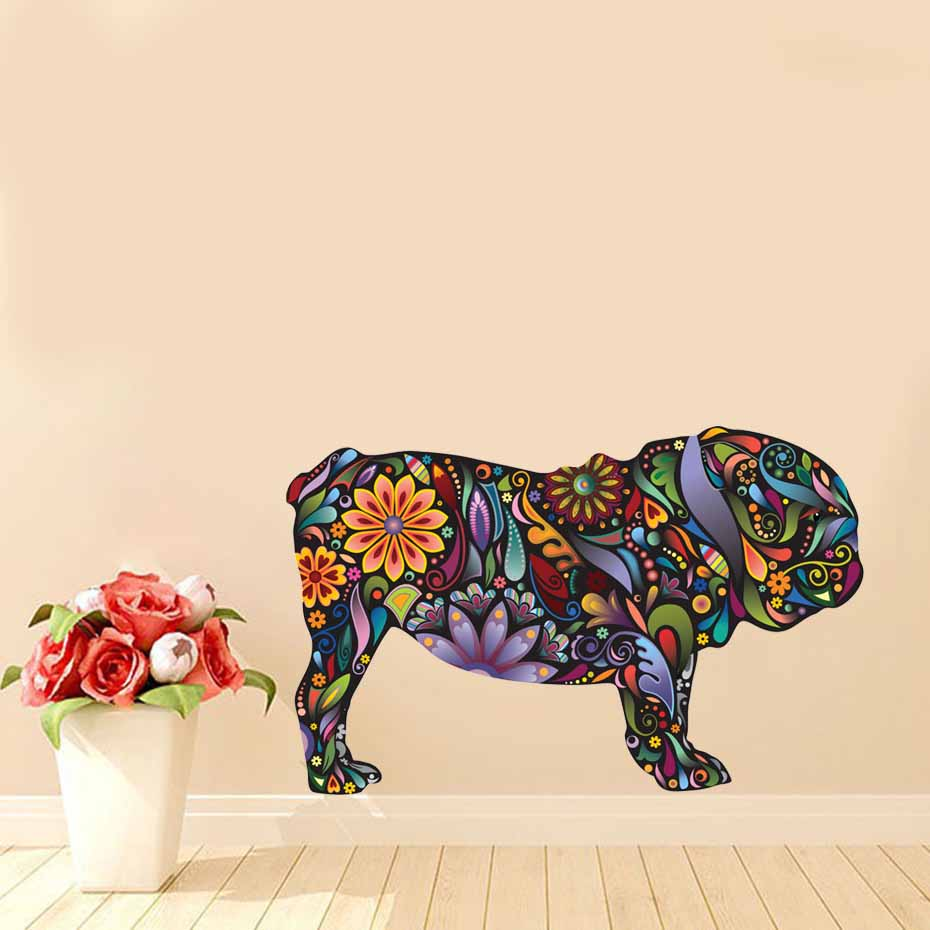 English Bulldog Dog Decal Vibrant Floral Pattern Wall Stickers Home Decor Living Room Wall Art Mural Self Adhesive Wallpaper