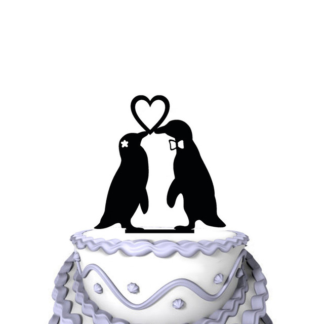 Cute Two Penguins in Love Wedding Cake Topper Silhouette Love Heart ...