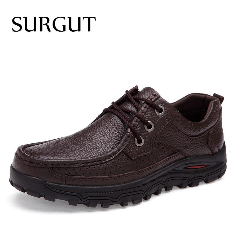 SURGUT Brand Big Sizes Genuine Leather Fashion Men Shoes Handmade Summer Autumn Winter Brand High Quality Men Flats Shoes 38-48 zxq brand handmade new winter men oxford shoes solid color high quality retro british style men flats leather shoes