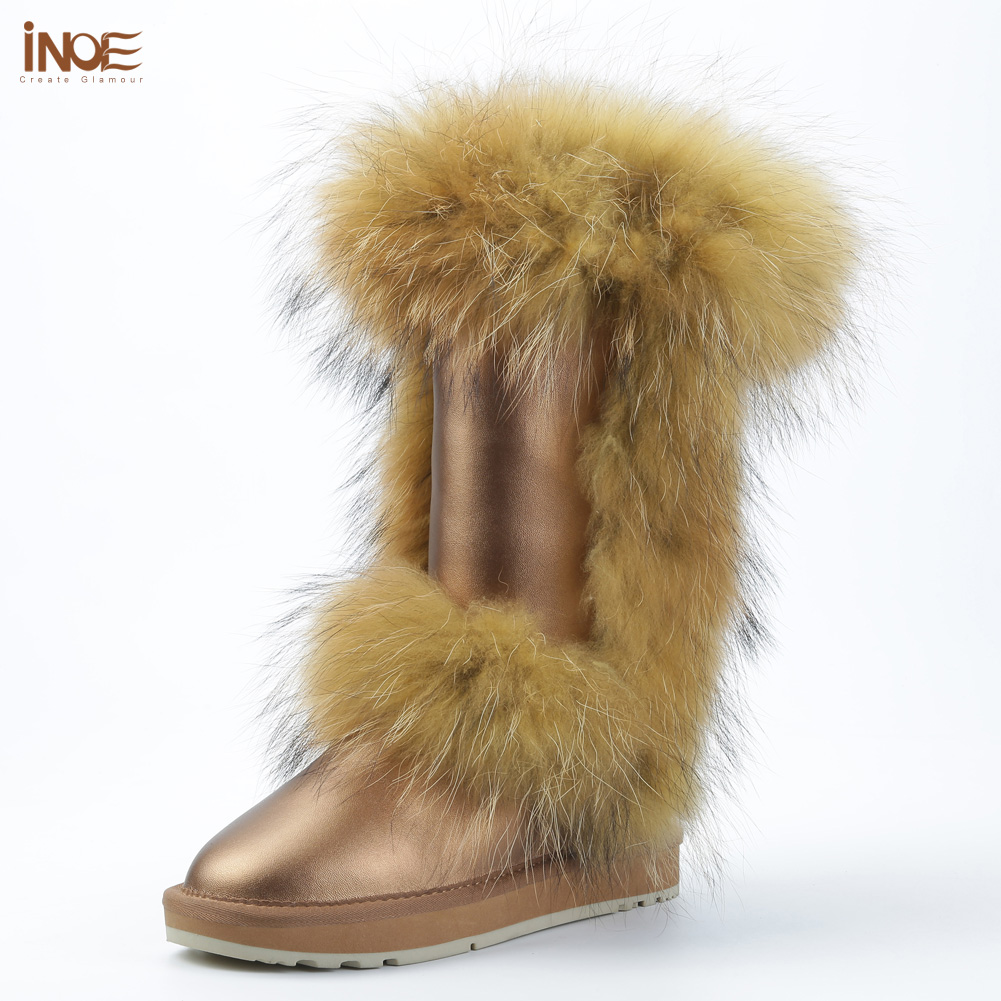 INOE fashion real fox fur winter snow boots for women winter shoes cow split leather boots black brown waterproof high quality inoe fashion big fox fur real cow split leather high winter snow boots for women winter shoes tall boots waterproof high quality