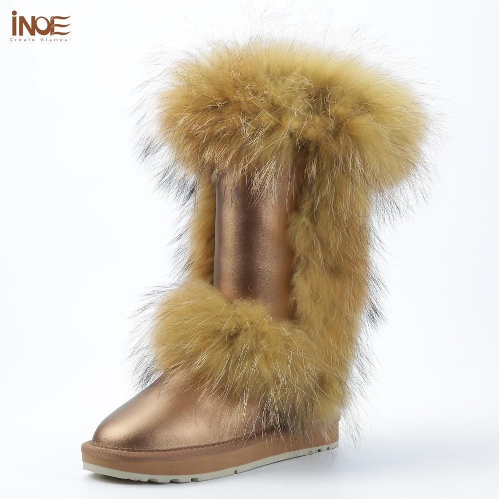 INOE mode réel renard de fourrure d'hiver de neige bottes pour femmes chaussures d'hiver vache split en cuir bottes noir brun étanche haute qualité