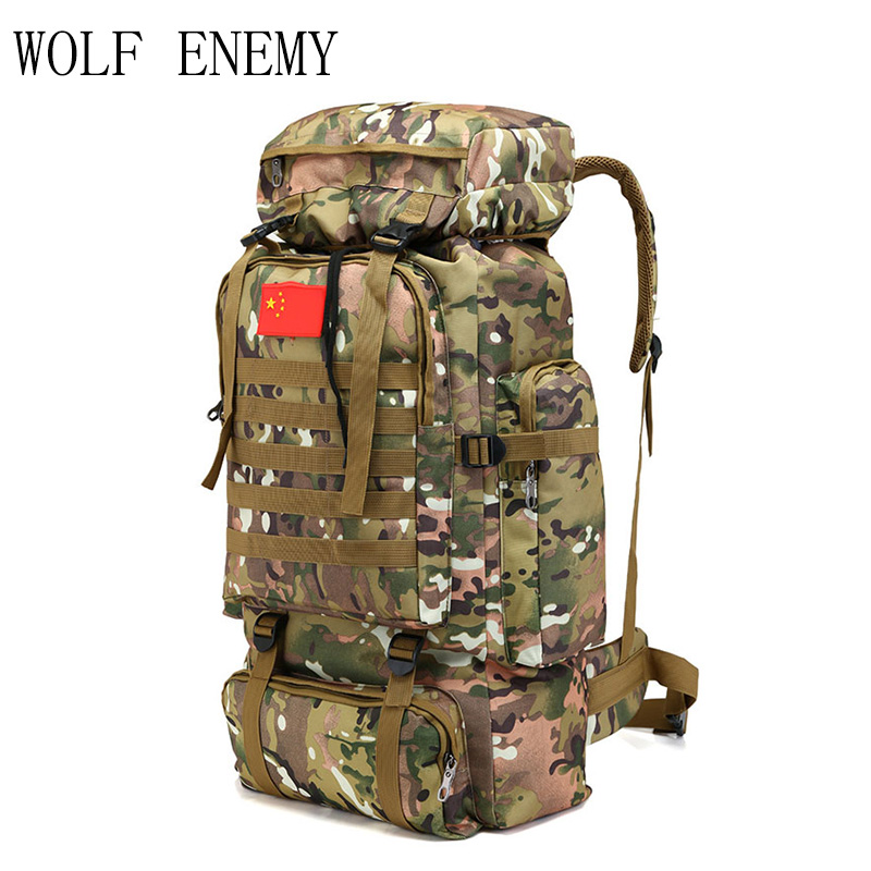 70L Tactical Bag Military Backpack Mountaineering Men Travel Outdoor Sport Bags Molle Backpacks Hunting Camping Rucksack 70l internal metal frame molle backpack rucksack water resistant bags 600d camouflage men long distance travel backpack t0071