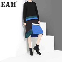 EAM 2017 New Autumn Round Neck Long Sleeve Solid Color Black Split Joint Pleated Blue